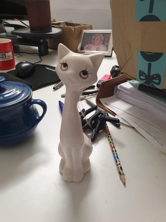 Long Neck Cat Figurine Ornament Image